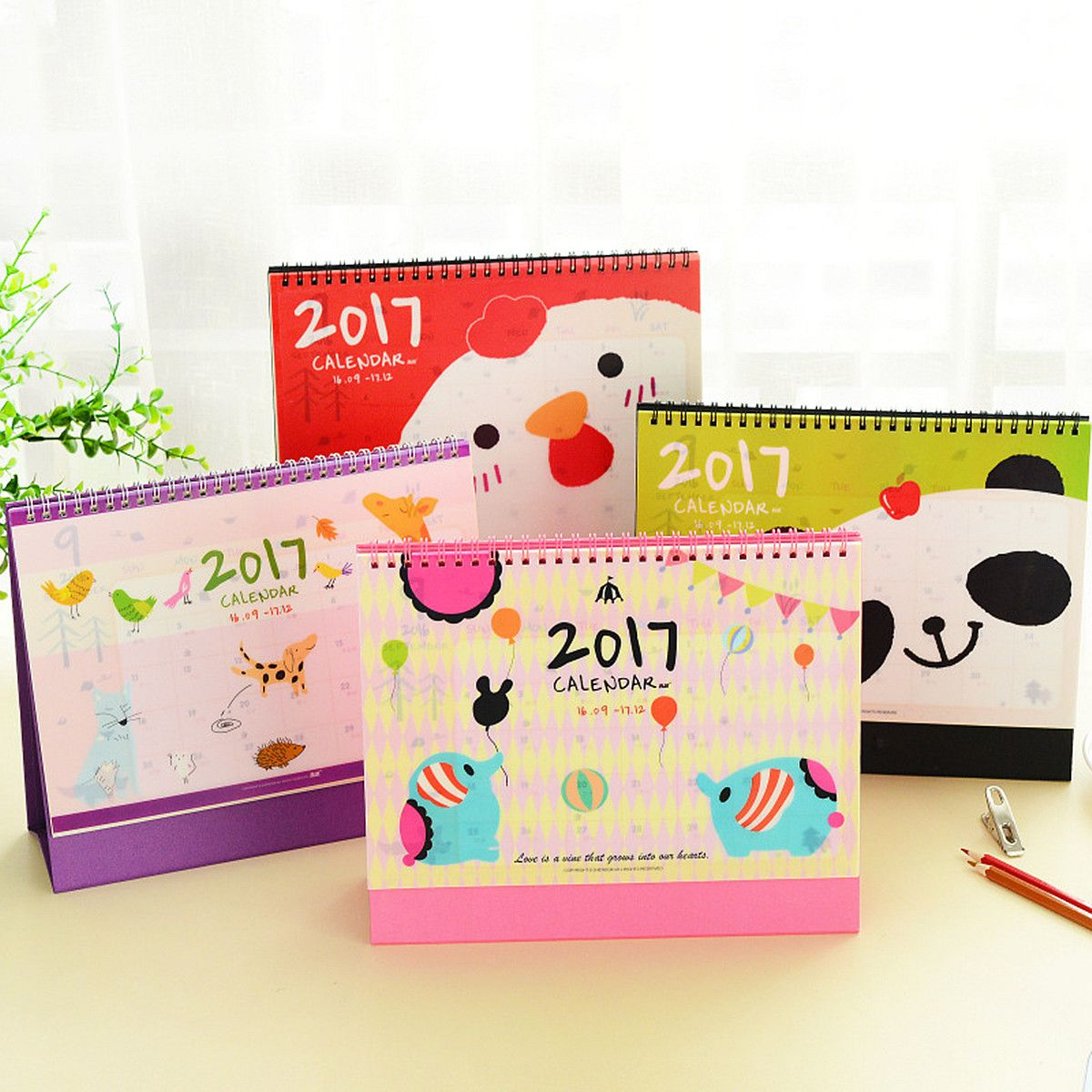 2017 Cute Cartoon Animal Desk Desktop Flip Stand Calendar Planner For Home Office