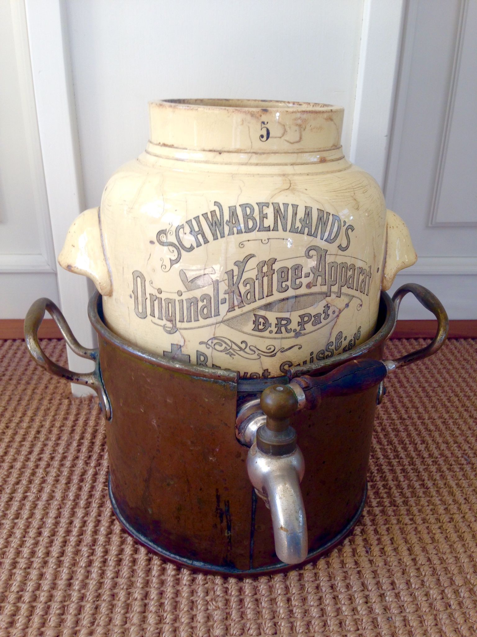 german coffeemaker original schwabenland 39 s kaffeeapparat d r p made in germany vintage. Black Bedroom Furniture Sets. Home Design Ideas