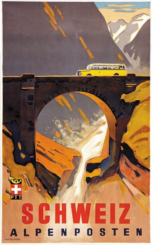 Schweiz Alpenposten 1937 Burger Wilhelm Friedrich