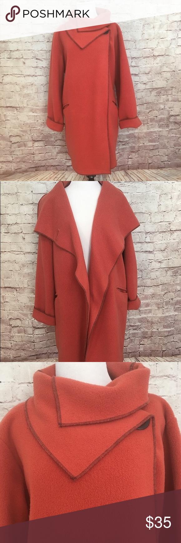 Maralyce ferree fleece coat gorgeous pumpkin colored fleece coat