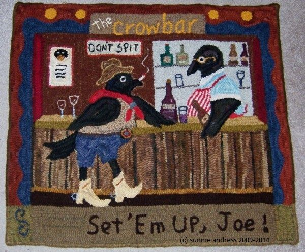 """This rug was created for a gallery show with a """"crow"""" theme.   I thought """"The Crowbar"""" was a good play on words...and had fun designing and creating this rug.   Like other artists and craftspeople, all my original work is protected by copyright and may not be reproduced."""