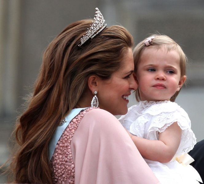 Swedish Princess Madeleine and her daughter Princess Leonore during the royal wedding of Swedish Prince Carl Philip of Sweden and Sofia Hellqvist at The Royal Palace on June 13, 2015 in Stockholm, Sweden.