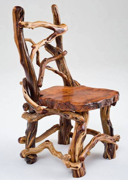Delightful This Rustic Log Chair Is Handcrafted From Natural Twisty Wood And Is Paired  With A Solid Slab Of Redwood For Cabin, Lodge, Ranch Or Western Decors.