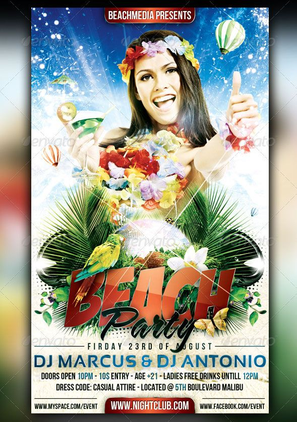 Amazing Beach Party Flyer Design Collections  Party Flyer