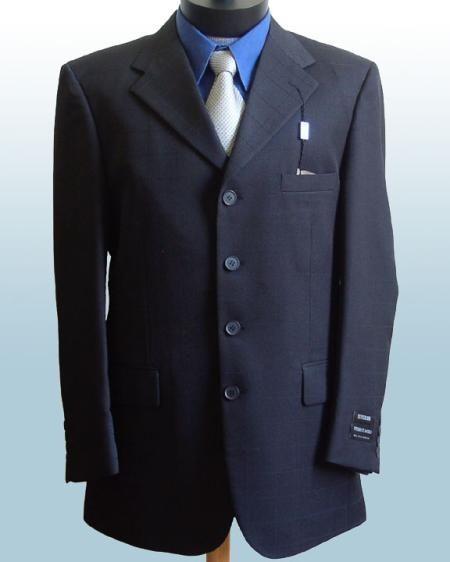 5d6d3ff311 Mens Dress Navy Blue 4 Buttons Style Suits non back vent coat style Pleated  Pants  199