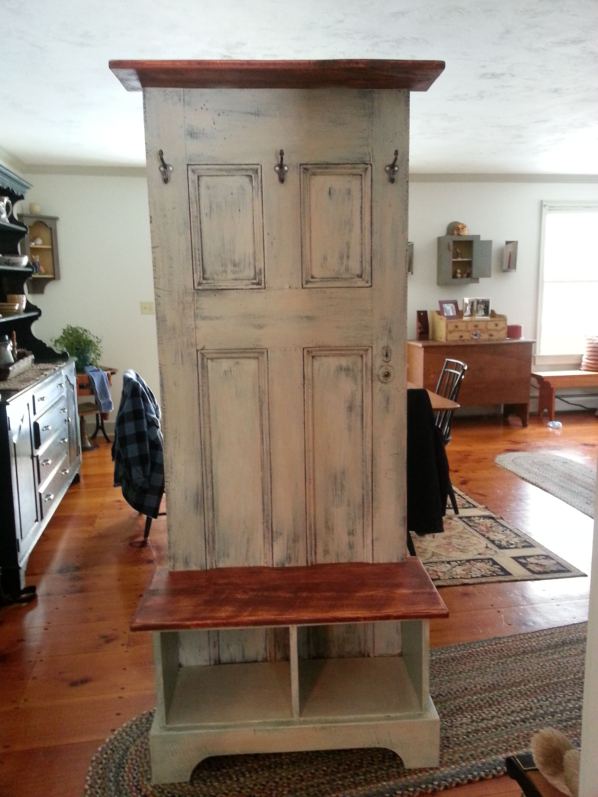 Door hall tree made from an antique door and a custom bench and shelf to fit. The finish is an old worn look. I love this piece and it is very functional. & Door hall tree made from an antique door and a custom bench and ...