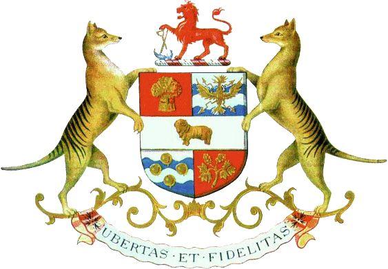 Coat of arms of Tasmania, Australia.