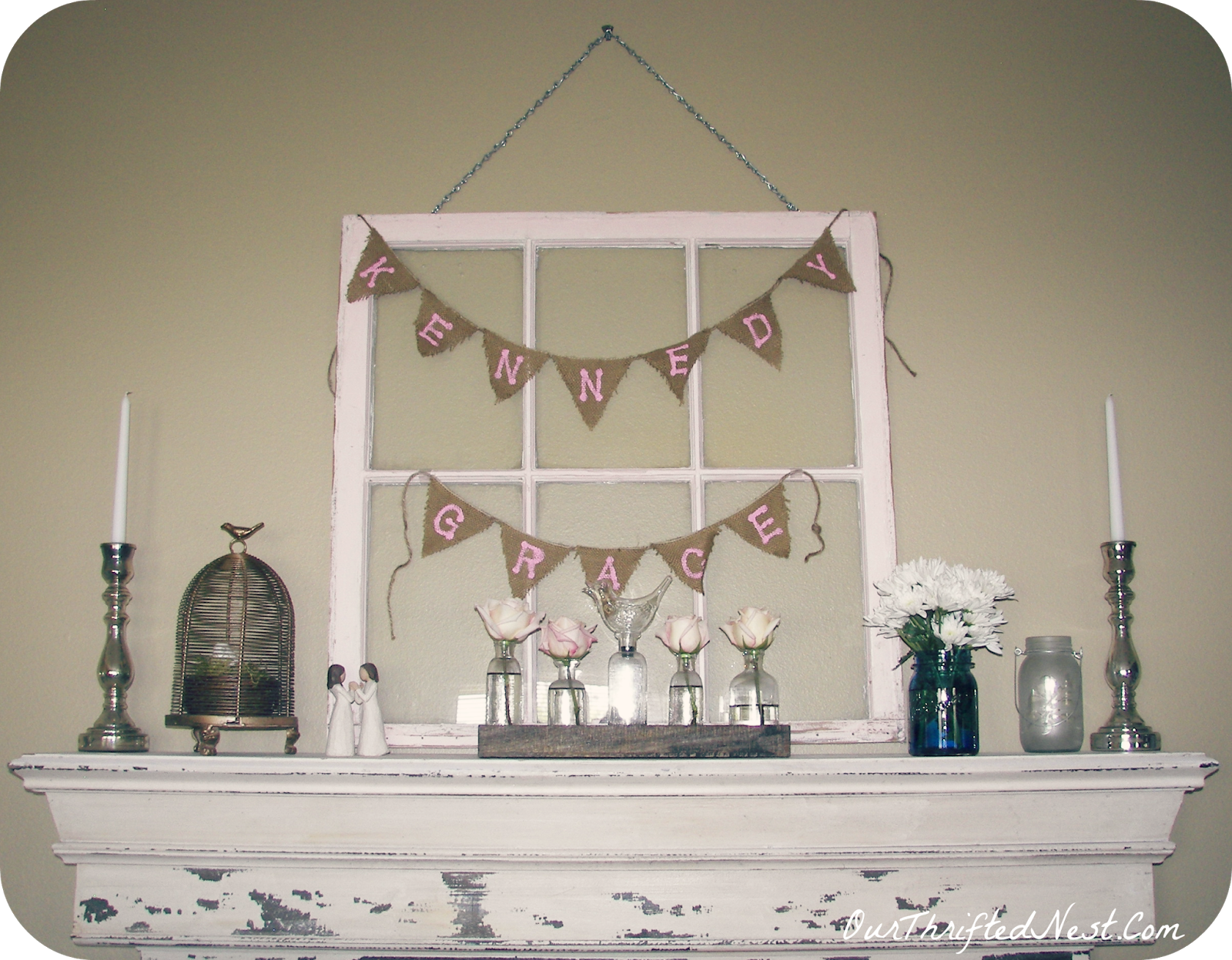 Baby dedication baptism party shabby chic rustic mantel for Baby dedication decoration