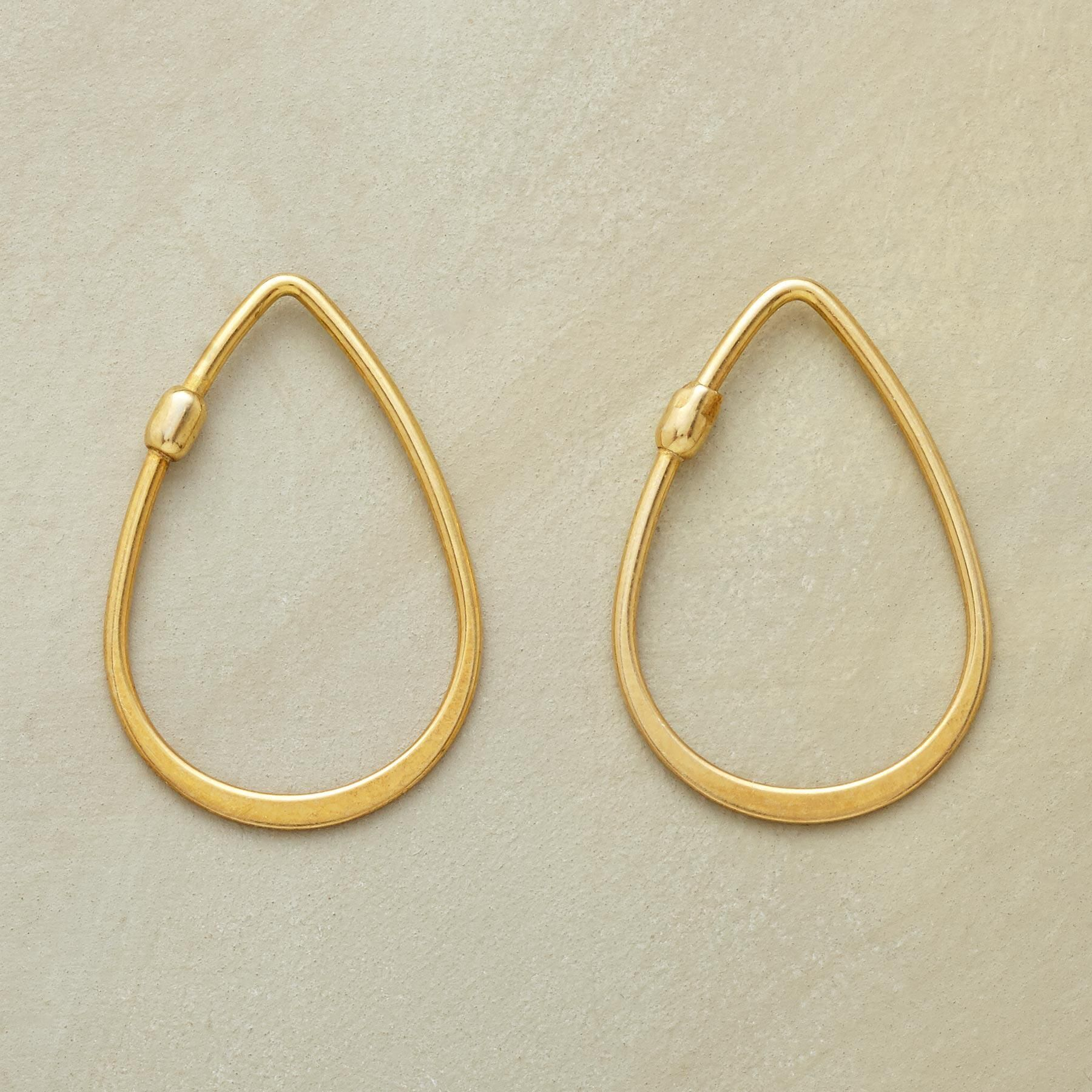 Golden Teardrop Hoops Simply Elegant Forged 18kt Gold Plate Hoop Earrings Level Out As They Round The Curve Self Locking With One End Slipping