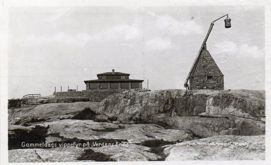 Vestfold fylke Tjøme kommune Verdens Ende Gammeldags Vippefyr. Brukt 1949. Utg A. Mathisen