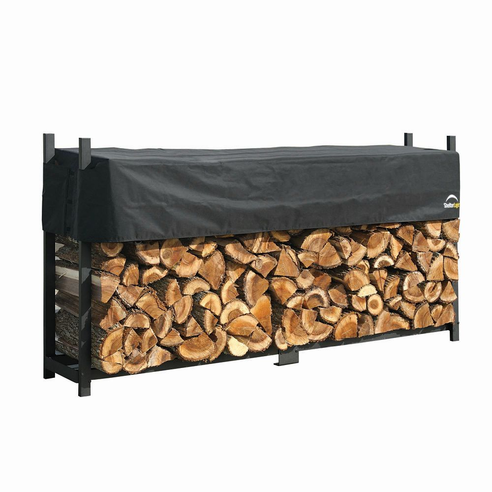Shelterlogic Firewood Rack In A Box Ultra Duty With Cover 8 Feet The Home Depot Canada Wood Rack Firewood Rack Firewood Storage