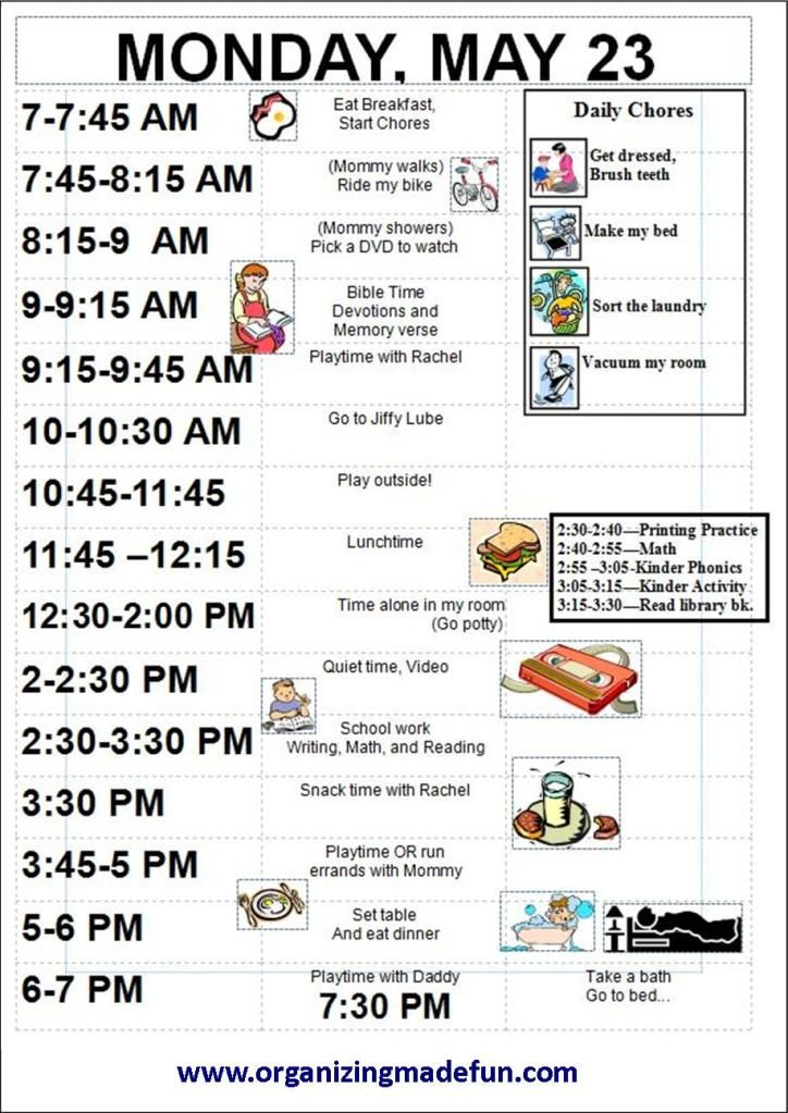 daily scheduling and chore charts for children  im going to change a few things though  but good
