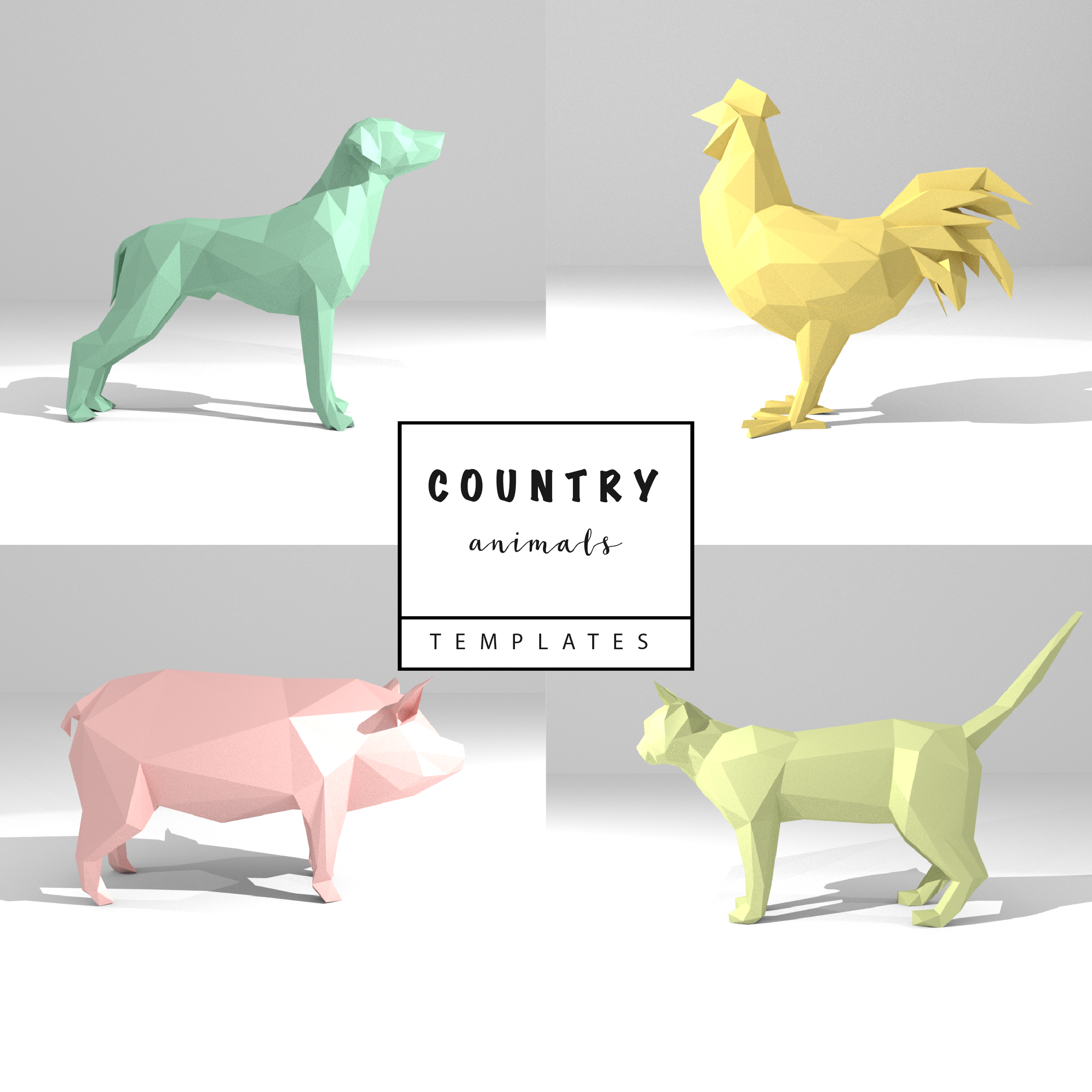 Set of 4 Printable DIY templates (PDF). Country Animals