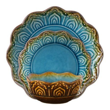 Amazon.com: Gibson Maison Morocco 12-Piece Reactive Dinnerware Set, Turquoise: Kitchen & Dining