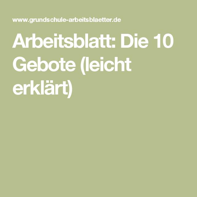 Arbeitsblatt: Die 10 Gebote (leicht erklärt) | Pinterest | Die 10 ...