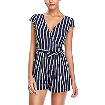 0450f642477 MISS MOLY Rompers and Jumpsuits for Women Vertical Deep V Neck Striped Cap  Sleeve Cute Summer Playsuits with Belt Blue M
