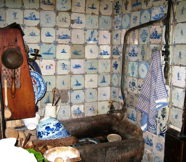 Old Kitchen Tile: Antique Blue Delft Tile Around Stone Sink, Dennis Severs