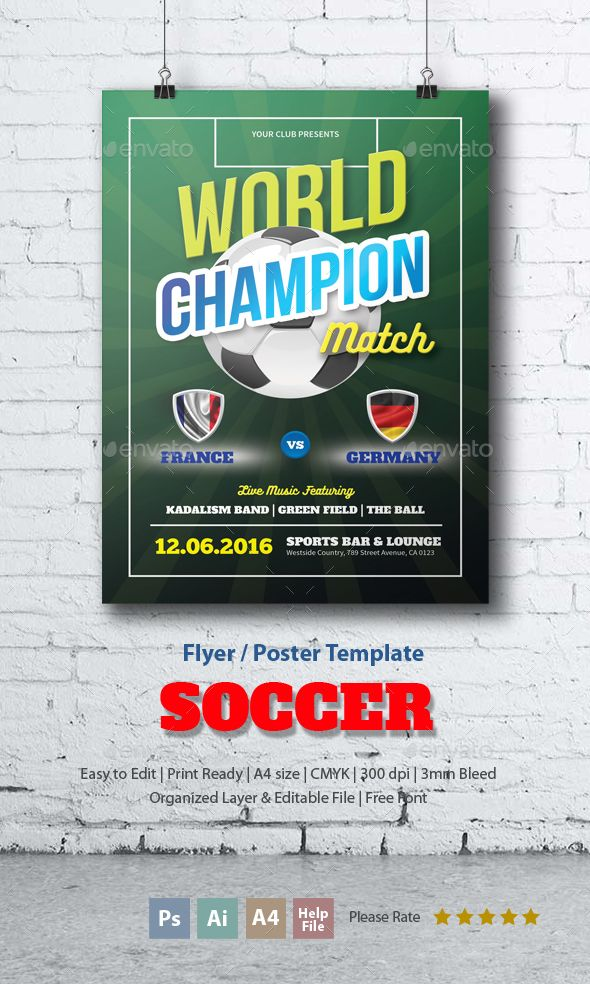 Soccer Flyer Template Soccer Match League Flyer Template By