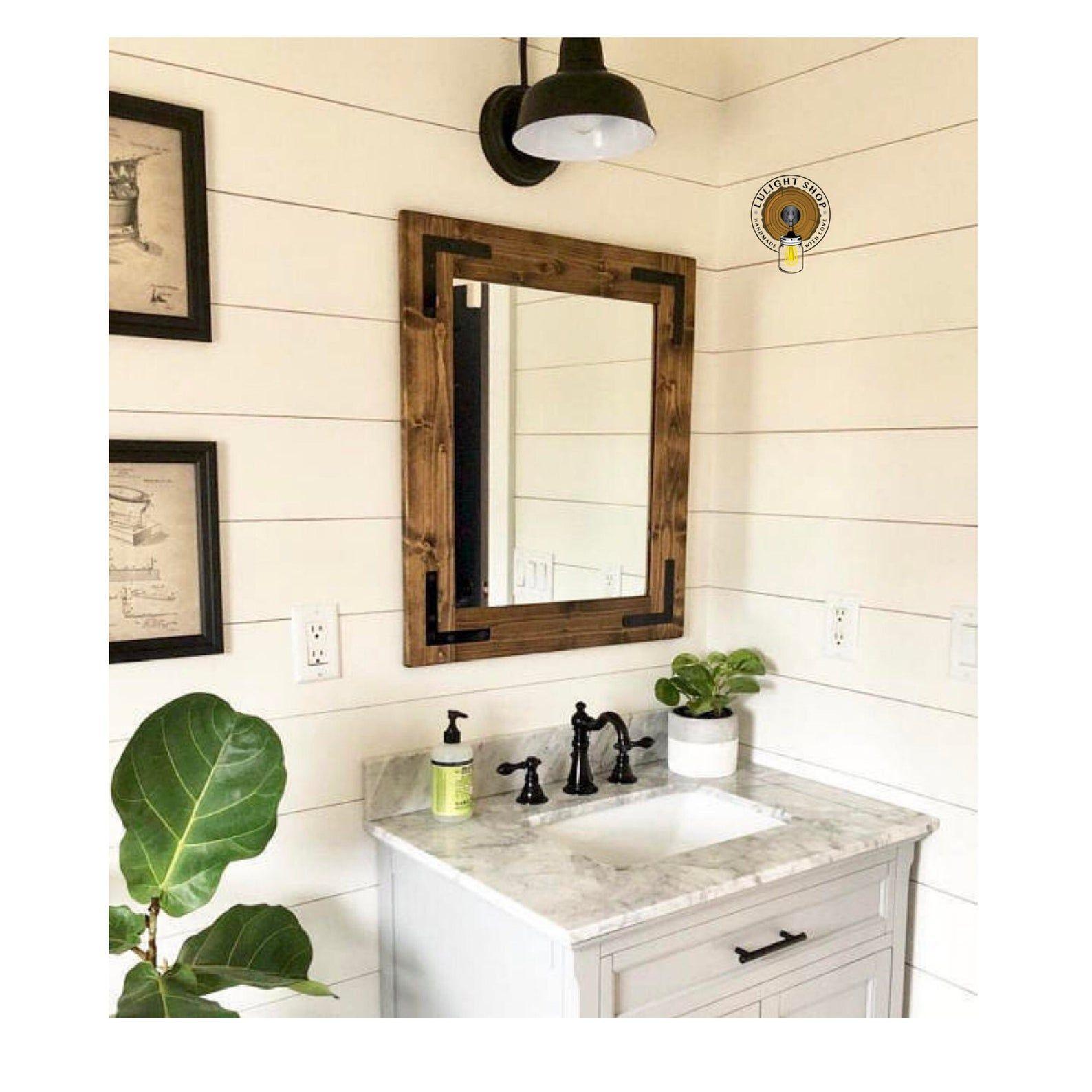 Dark walnut mirror farmhouse mirror country framed