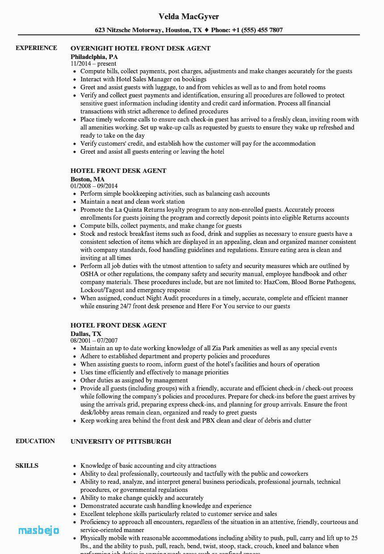Front desk agent resume best of front desk agent resume