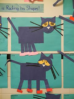 Pete the Cat shapes - graphing, and shapes monster craft... Cute!