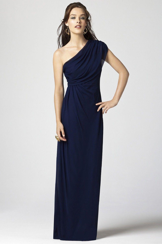Dark navy floorlength one shoulder chiffon aline dress with