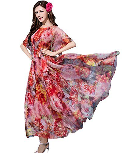 fe3b24e2729 MedeShe Floral Short Sleeve Holiday Maxi Dress Beach Lightweight Sundress  £19.99
