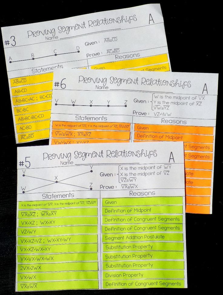 Segment Relationships Proof Activity | Proofs - Geometry