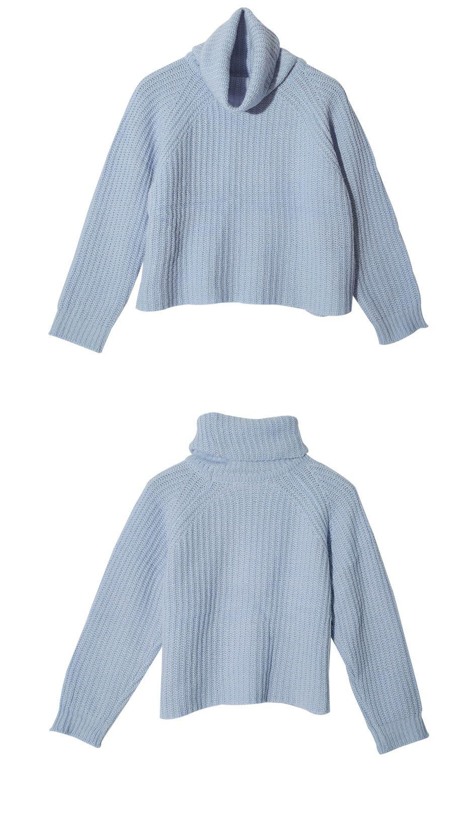 Turtleneck Raglan Knit Top (Sky Blue) | STYLENANDA