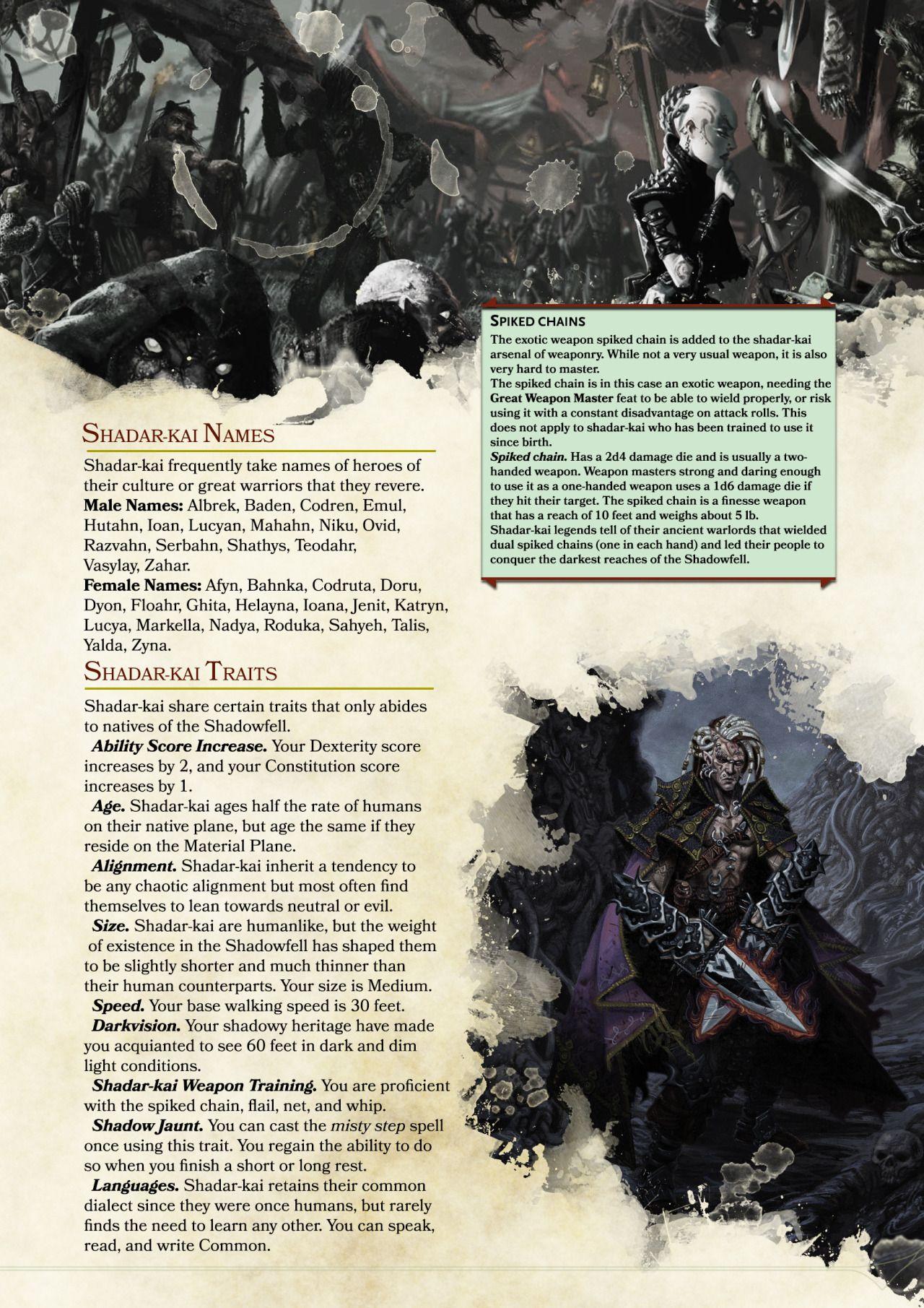 Shadar Kai 5e : shadar, Shadar-Kai, Moowl, Dungeons, Dragons, Races,, Homebrew,, Races