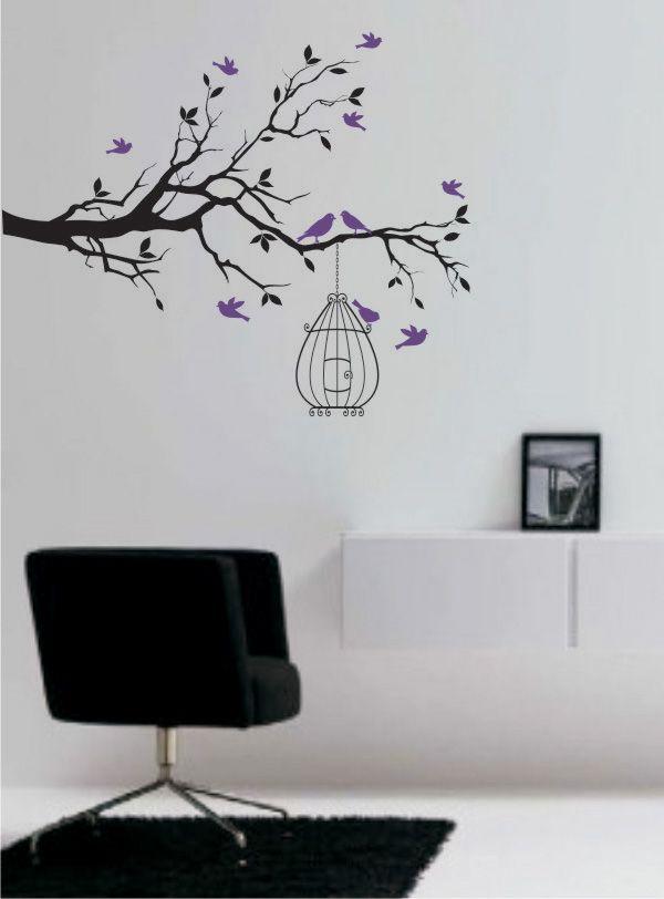 4b61429af Adesivo - árvore com pássaros e gaiola