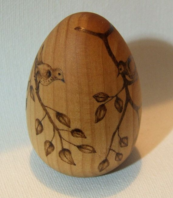 Custom decorated wooden egg original by whitetreegallery for Wooden eggs for crafts