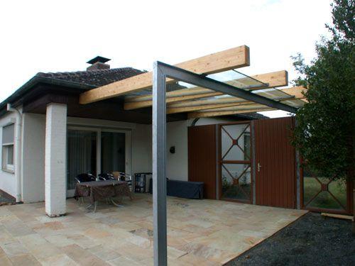 Vordach Aus Leimbindern Stahl Feuerverzinkt Und Vsg 16 Mm Vordach Uberdachung Terrasse Uberdachung Garten