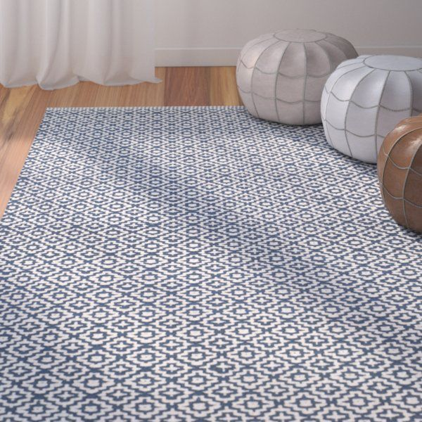 Hampden Hand Woven Cotton Ivory Navy Blue Area Rug