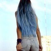 Super hair color black blue dip dye ideasSkincare