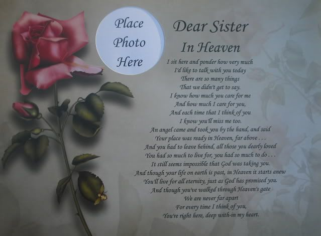 Loss Of A Sister Dear Sister In Heaven Memorial Poem Gift For Loss