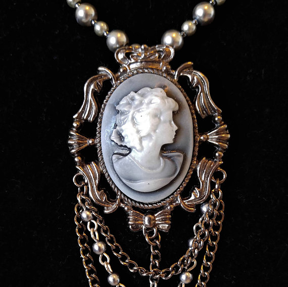 Cameo necklace gray pearl cameo necklace cameo pendant gray cameo cameo necklace gray pearl cameo necklace cameo pendant gray aloadofball Choice Image