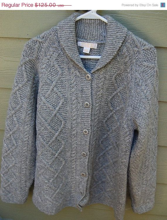 SALE 60s 70s Brooks Brothers Shetland Wool Cable Knit Cardigan ...