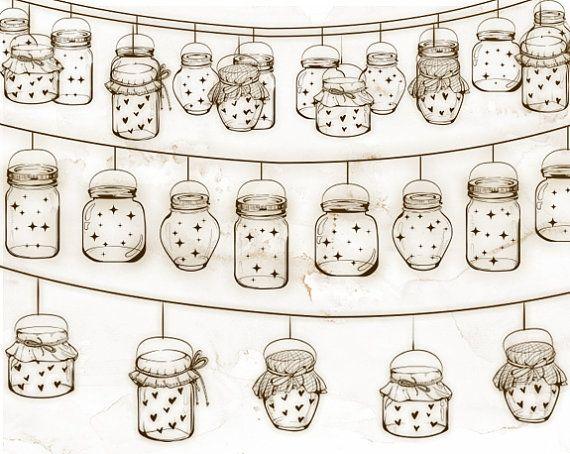 Glass Jars Clipart Mason Vintage Jar