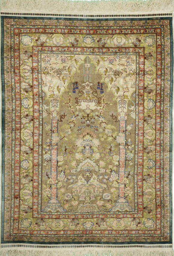 Silk on silk, 100% pure silk, signed Hereke Rug-Turkey. 36 inches x 54 inches