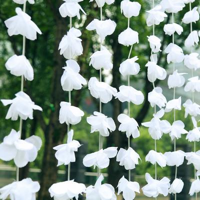 6ft White Silk Hanging Flower Garland Backdrop Curtain Flower Garland Backdrop Garland Backdrops Flower Garlands