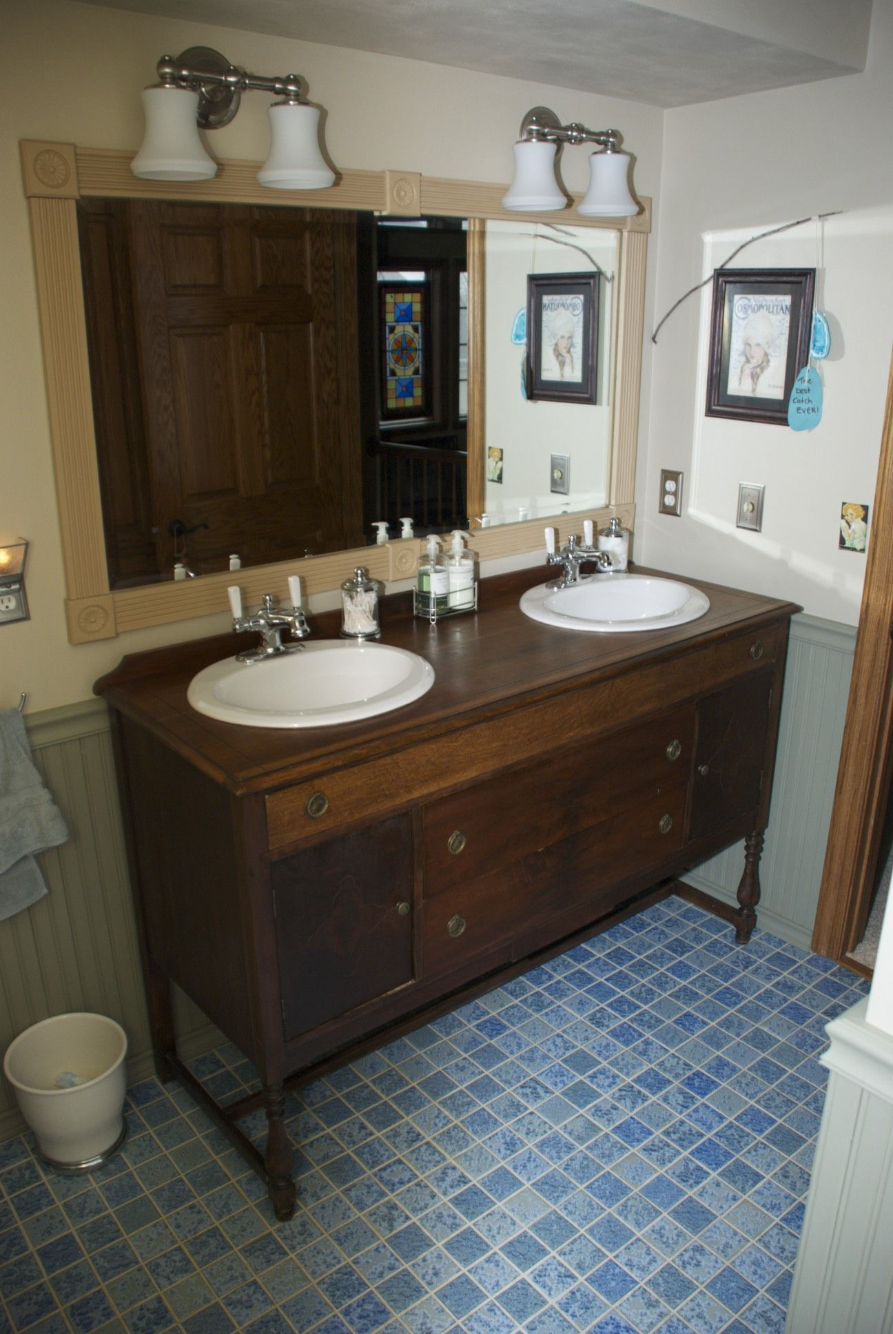 Bathroom vanity made from vintage buffet / sideboard. All you need
