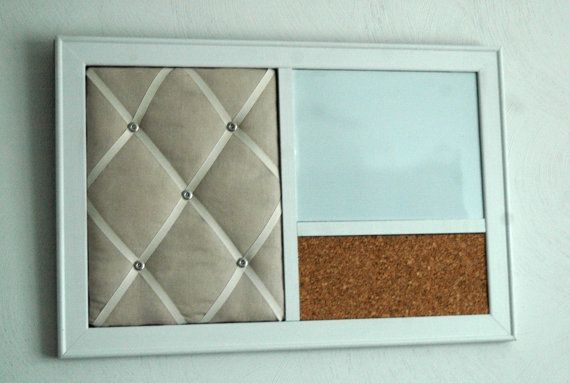 french memo board magnetic whiteboard u0026 corkboard organizer in a white frame on etsy