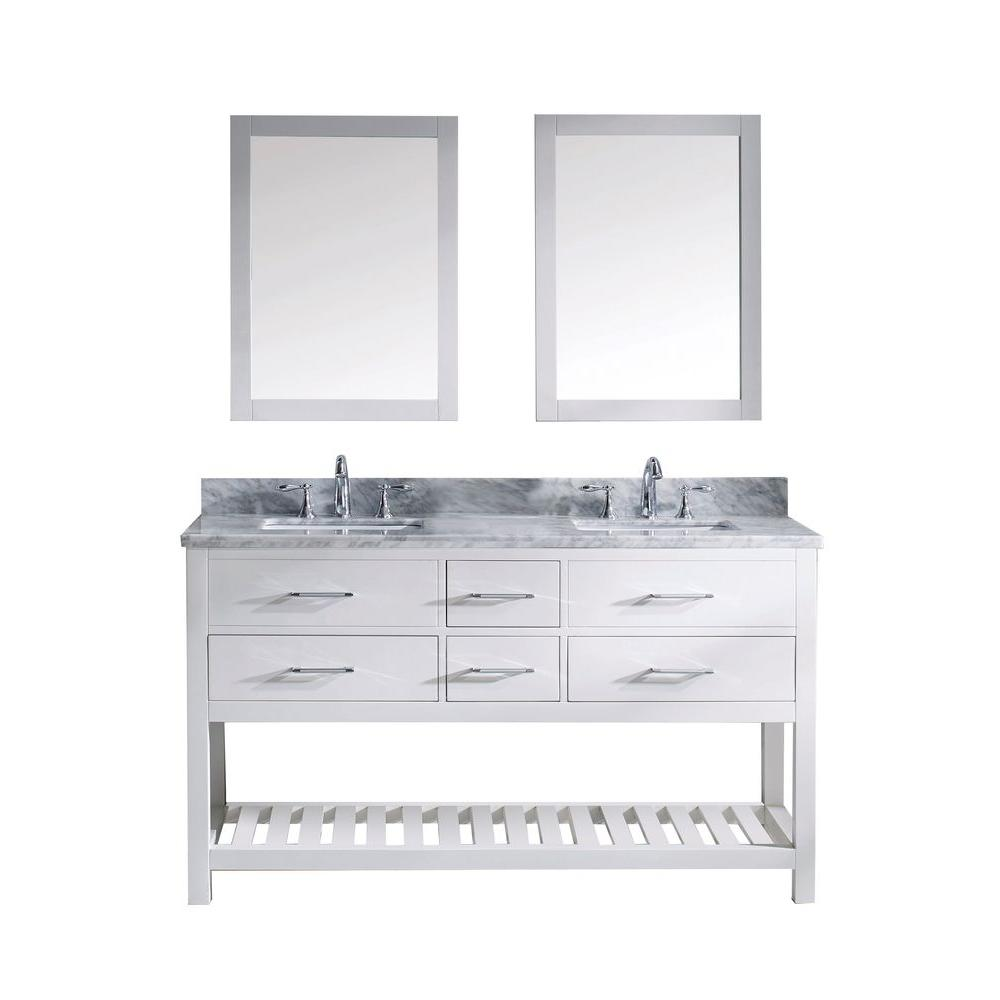 Virtu USA Caroline Estate 60 in. W x 36 in. H Vanity with Marble Vanity Top in Carrara White with White Square Basin and Mirror