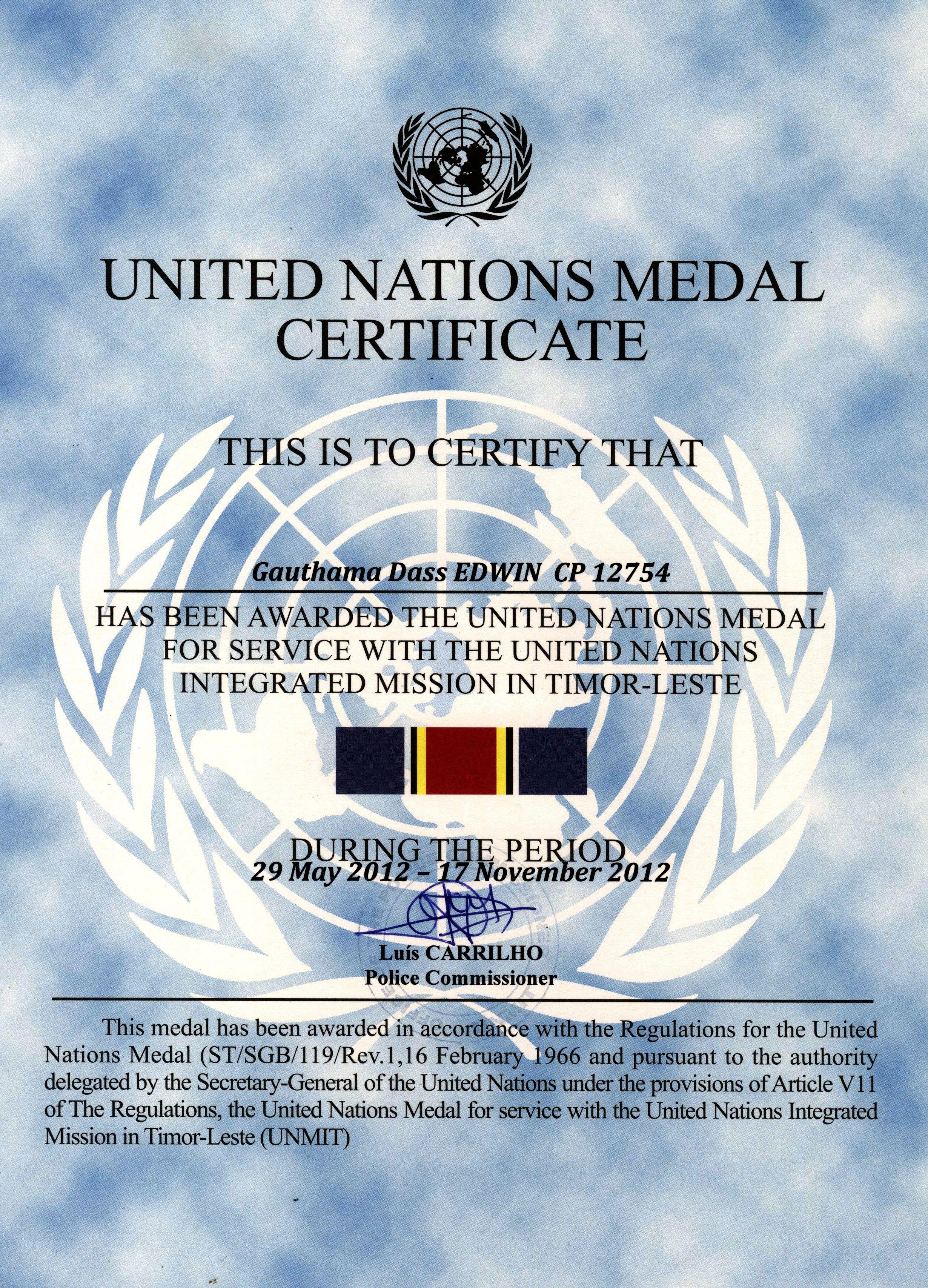 United Nations Medal Certificate Unmit Timor Leste Pinterest