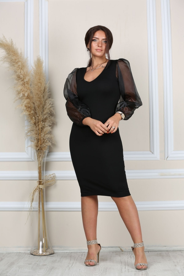 Kollari Tul Elbise 49 99 Tl 2020 Elbise Siyah Elbise Elbise Modelleri