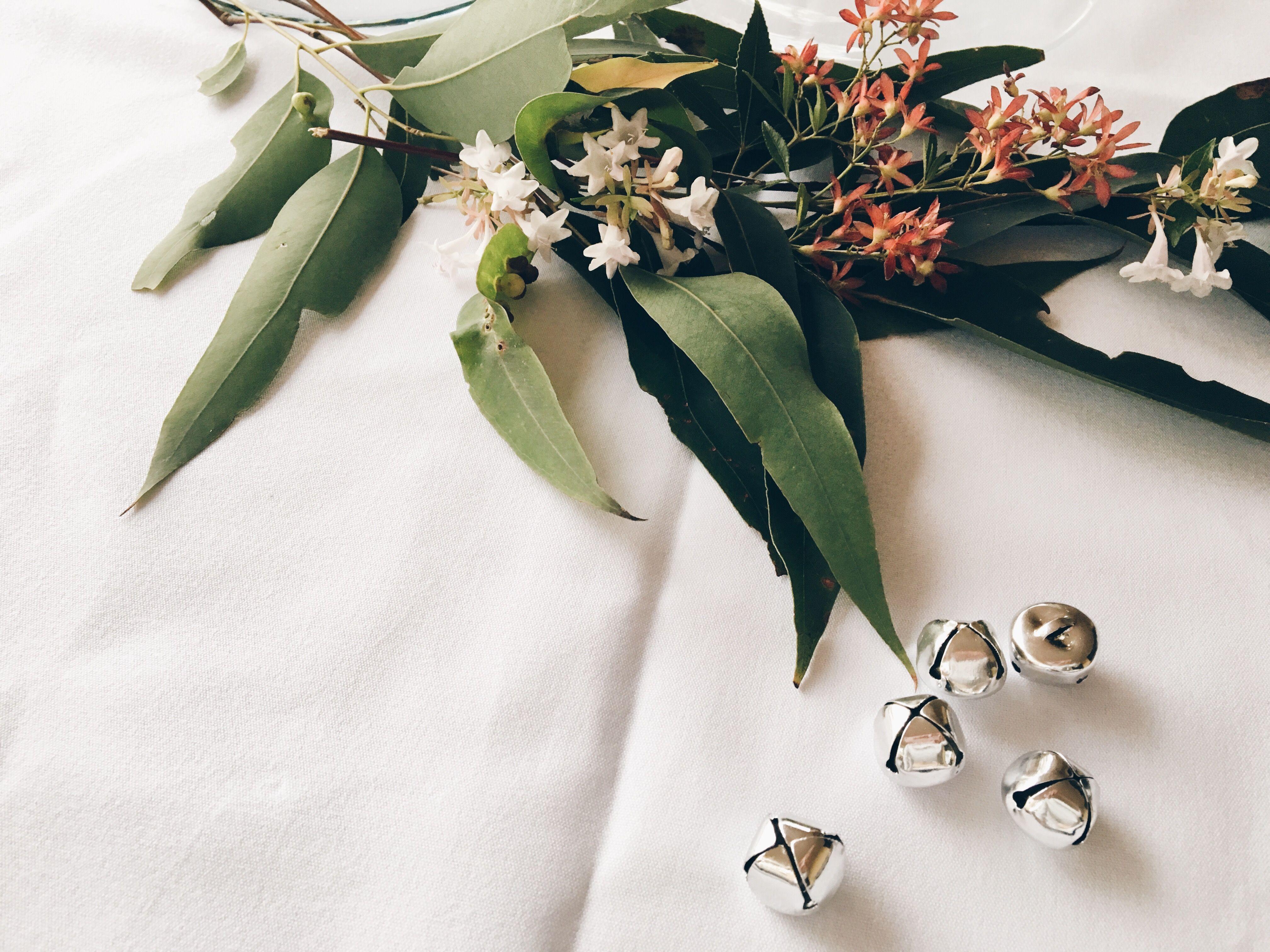 Australian Christmas floral table arrangement. Eucalyptus