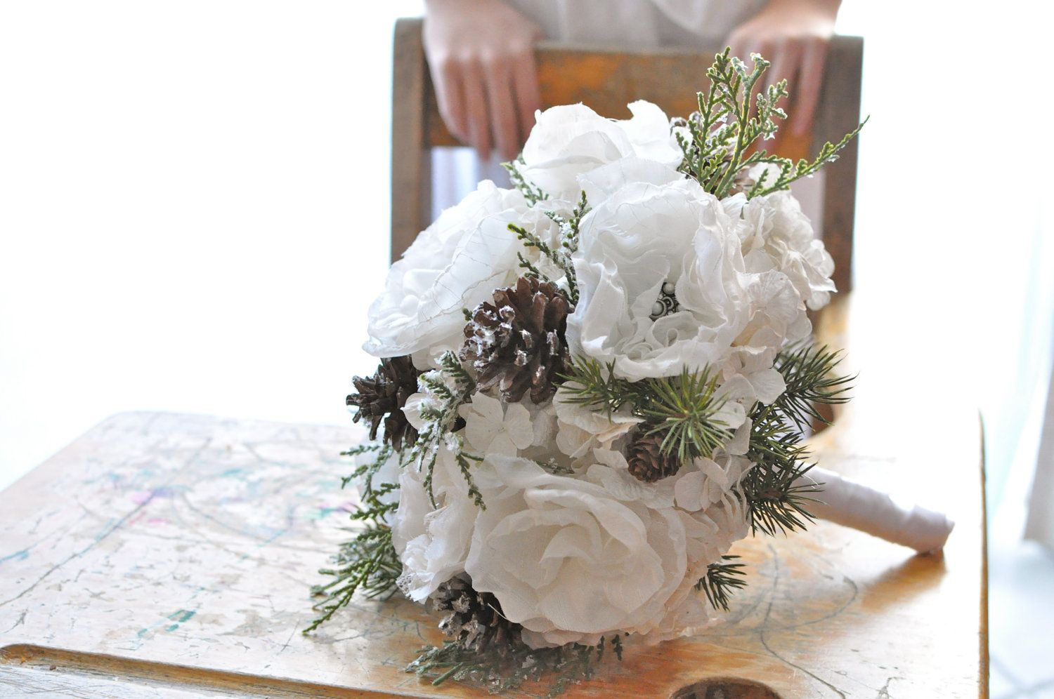 Winter Woodlands White Paper And Fabric Flower Bouquet Green Brown
