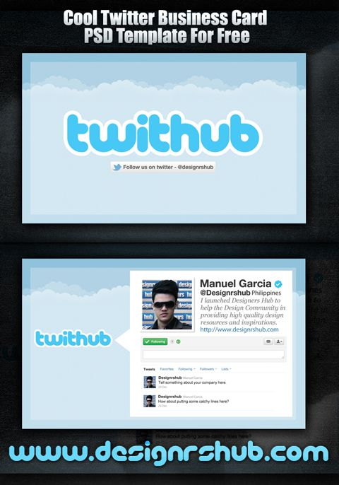 cool twitter business card psd template for free web graphic