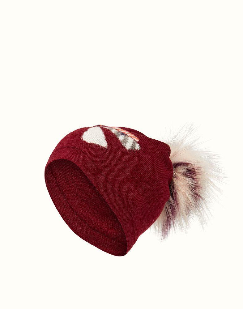 116fc289832 FENDI HAT - Hat in burgundy wool and fur - view 1 detail